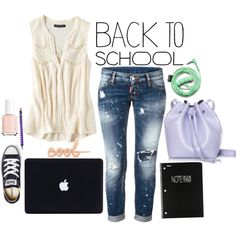 Back to School by bellaeve on Polyvore featuring moda, American Eagle Outfitters, Dsquared2, Converse, Rachael Ruddick, Urbanears, ban.do, Essie, OHTO and BackToSchool
