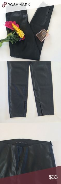 Zara Black Leather Pants Small Zara Basic Black Leather Pants. There are zippers on the bottom and at the waist. Length 37 inches laying flat. Zara Pants Skinny