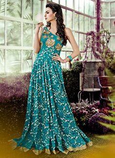 Teal Blue One Shoulder Anarkali Gown