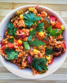 Meksykańskie kaszotto warzywne - Mrs. Endorfina Vegan Lunch Box, Vegetarian Recipes, Healthy Recipes, Vegan Breakfast, Chana Masala, Tofu, Food Porn, Food And Drink, Veggies