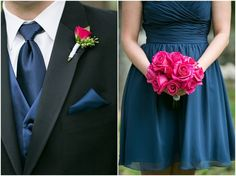 Fuchsia with Navy and Gold - What Color Matches Fuchsia for Wedding? - EverAfterGuide