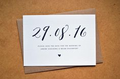 COSMOS Save the Date - Personalised Calligraphy Heart Wedding Save the Date including Kraft Envelope - Rustic, Vintage, Barn, Farm - Save The Date Invitations, Printable Invitations, Wedding Invitations, Invites, Calligraphy Invitations, Diy Save The Dates, Save The Date Cards, Save The Date Ideas Diy, Unique Wedding Save The Dates