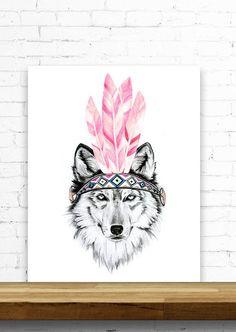 Dakota Wolf, Wall Art Giclee Print, Dakota Wolf Nursery Art, Watercolour Black and White Animal Art by WildInkCollective on Etsy https://www.etsy.com/uk/listing/266892367/dakota-wolf-wall-art-giclee-print-dakota