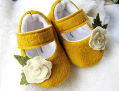 SALE Toddler girl shoes yellow booties flower by ivoryandmoss