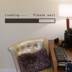 'loading… please wait' wall sticker by nutmeg | notonthehighstreet.com