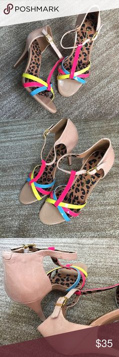 """Neon Strappy Heeled Sandals Jessica Simpson heeled sandals in nude with multicolored neon straps. 3.5"""" heel. Nude leather features a distressed look. Neon straps are patent leather. Like new. Jessica Simpson Shoes Heels"""