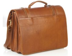 Triple Compartment Briefcase - Tan - In stock - Back View