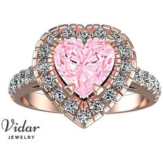 Pink Sapphire Engagement Ring,Unique Engagement Ring,Heart Engagement... ($9,450) ❤ liked on Polyvore featuring jewelry, rings, pink sapphire engagement rings, rose diamond ring, diamond engagement rings, engagement rings and heart shaped rings
