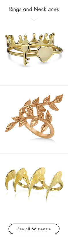 """Rings and Necklaces"" by tyara-camsmith ❤ liked on Polyvore featuring jewelry, rings, yellow, heart knuckle ring, heart ring, knuckle rings, heart crown ring, yellow ring, accessories and rose gold vine ring"