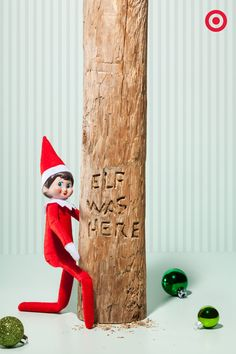 Making His Mark Sometimes our Elf is sweet and sometimes he's a little sneaky. Last night – definitely sneaky. Look who we caught carving his name in the trunk of the Christmas tree with a pocketknife. If your Elf is pressed for time, a sticker or magic marker would work fine, too!