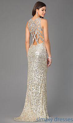 Floor Length V-Neck Sequin Primavera Dress at SimplyDresses.com
