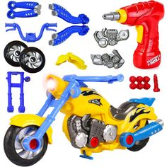 Liberty Imports Kids Take Apart Toys - Build Your Own Toy Motorcycle Vehicle Construction Playset - Realistic Sounds and Lights with Tools and Power Drill (Motorcycle) * Learn more by visiting the image link. (This is an affiliate link)