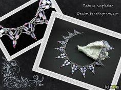 *_UNIKAT_*  Außergewöhnliches Collier in Netzoptik gefertigt aus hochwertigen japanischen Toho-Rocailles in silber metallic und dunkelpink, böhmischen Glasschliffperlen in pink metallic und...