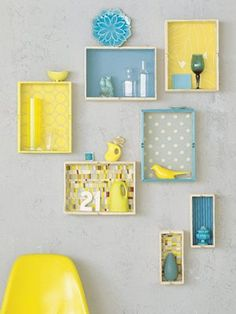 trays as wall art - right now I'm thinking vignette in a boy room, but this could go anywhere.