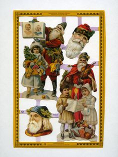 SCRAP RELIEFS SET  Victorian Santas by OneDayLongAgo on Etsy