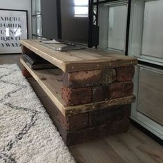 Even though it's handy, try DIY a simple shelf with fashionable ♪ brick blocks! - Home Page Diy Furniture Projects, Home Projects, Tv Rack, Diy Tv Stand, Industrial Furniture, Diy Home Decor, Sweet Home, Interior Design, Rustic Modern