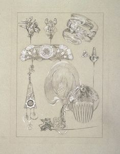 Accessory Designs by Alphonse Mucha - Top of comb as tattoo