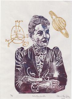 Mathematician Sofia Kovalevski Linocut History of by minouette