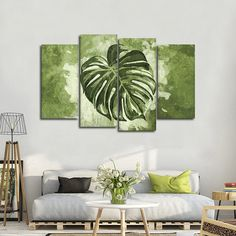 Monstera Leaf Multi Panel Canvas Wall Art by ElephantStock is printed using High-Quality materials for an elegant finish. Canvas Art Projects, Botanical Wall Art, Painted Leaves, Diy Wall Decor, Home Decor, Tropical Decor, Modern Wall Art, Unique Wall Art, Wall Art Designs