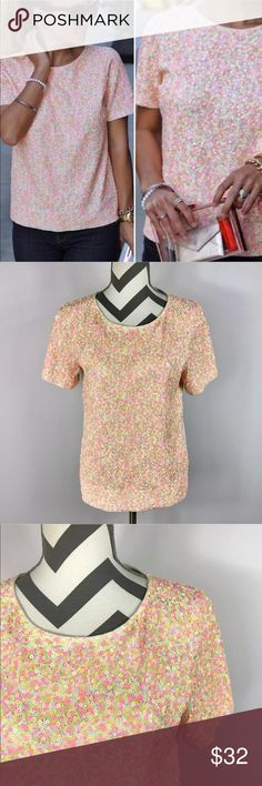 "{J Crew} Neon Pink Orange Yellow Sequin S/S Top Excellent Pre-loved Condition! J Crew Womens Neon Pink Orange Yellow Sequin Short Sleeve Top, Size S Used   Size:  S Measured laying down flat: 23.5"" in length, across bust 18.5"", 8.5"" sleeve length Material: 100% Cotton Description: Sequin Front, Solid Cream Colored Back. Stretchy, Short Sleeve, Pullover Top  Comes from a Smoke Free Home. ID: 1533- J. Crew Tops Blouses"