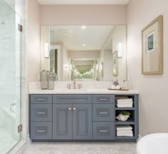 vanity is Benjamin Moore Dior Gray. Newly Built Hamptons Style Home - Home Bunch Interior Design Ideas Hamptons Style Decor, Hamptons House, The Hamptons, Bathroom Renos, Bathroom Renovations, Bathroom Interior, Bathroom Mat, Bathroom Closet, Boho Bathroom