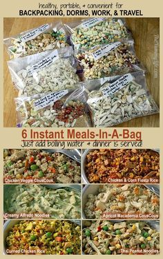 6 Instant-Mahlzeiten für unterwegs - Zelten 6 Instant Meals-On-The-Go 6 Instant meal on the go. Nutritious and easy for backpacking, camping, dorms, office and travel. Freezer Meals, Easy Meals, Freezer Recipes, Freezer Cooking, Hiking Food, Hiking Tips, Hiking Gear, Instant Recipes, Dehydrator Recipes