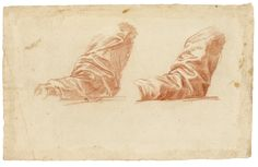 Baldassare Franceschini, called Il Volterrano VOLTERRA 1611 - 1689 FLORENCE TWO STUDIES OF A DRAPED ARM Red chalk 265 by 421 mm; 10 7/16  by 16 1/2  in