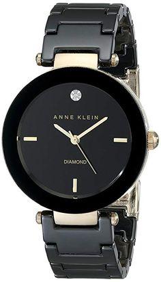 Anne Klein Women's Black Ceramic Bracelet Watch with Diamond Accent - - WOMEN`S WATCHES - . Stylish Watches, Luxury Watches, Cool Watches, Black Watches, Cheap Watches, Rose Gold Watches, Fossil Watches, Anne Klein, Jewelry Clasps