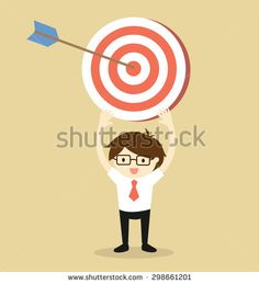 Business concept, Businessman holding target with an arrow. Vector illustration.