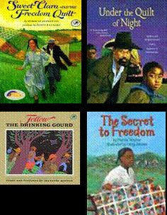Books for teaching about freedom quilts and the underground railroad.