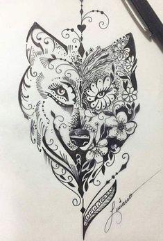Hamsa Tattoo Design, Wolf Tattoo Design, Tattoo Designs, Wolf Design, Tattoo On, Mandala Tattoo, Tattoo Drawings, Lion Tattoo, Leg Tattoos