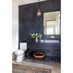 "Dark blue tiles on this powder room from #clientblackhousesarethebesthouses make me ""H""'to the ""A""'to the ""PPY"" ... double tap if you are…"