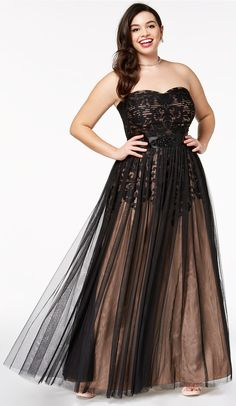 Plus Size Strapless Tulle-Overlay Ball Gown #plussize