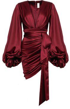 Ruched Silk-Blend Satin Mini Dress by Alexandre Vauthier Cute Dresses, Beautiful Dresses, Short Dresses, Dresses With Sleeves, Wrap Dresses, Satin Mini Dress, Satin Dresses, Gowns, Red Silk Dress