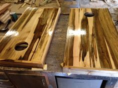 Stressed maple corn hole boards I built in shop.. Check out my page on Facebook.. Kens Custom Woodworks