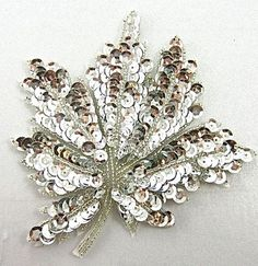 """Leaf with Silver Sequins and Beads 4.5"""" X 4.5"""":"""