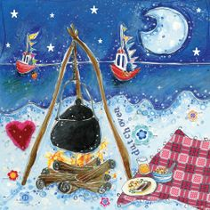 Quality & affordable art at Whistlefish - handpicked contemporary & traditional art Food Cards, British Artists, Affordable Art, Recipe Cards, Traditional Art, Coastal, Illustration Art, Greeting Cards, Camping