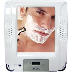 ZRA01 Zu0027Fogless Stereo Shower Radio, Fog Free Mirror W/digital Clock