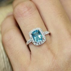 Vintage Inspired Swiss Blue Topaz Engagement Ring in by LuxCrown