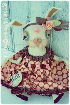 Grimitive Folk Art Primitive Valentine Bunny Rabbit... by doll artist Kaf Grimm of GRIMITIVES