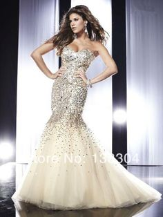 free shipping 2014evening gown brides maid dresses plus size sexy luxury rhinestone sequin crystal long mermaid prom dresses-in Prom Dresses...