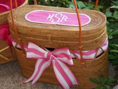 Preppy purse, monogrammed, basket, and striped ribbon