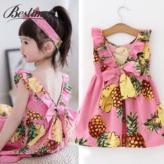 Summer Pineapple Girls Cotton Dress  Super Quality, Best Prices & FREE Worldwide Shipping!  #hashtag4 Kids Summer Dresses, Girls Dresses, Lace Dresses, Summer Kids, Dress Summer, Pineapple Girl, Pineapple Print, Sleeveless Outfit, Kids Clothing Brands