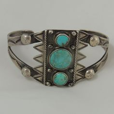 Best! Early Navajo Natural Turquoise w Beautiful Hand Stamping Applied Raindrops
