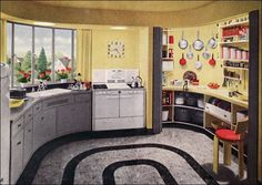 1948 Armstrong Kitchen with another great Working Pantry. Also like the gray/yellow with a pop of color.