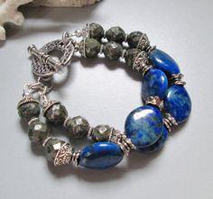 Lapis, Pyrite and Silver Bracelet