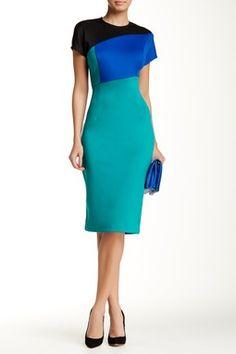 Colorblock Short Sleeve Sheath Dress