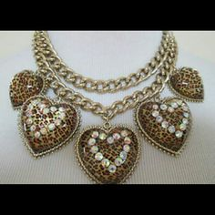 I just added this to my closet on Poshmark: Betsey Johnson Leopard Hearts Statement NecklaceNWT. Price: $100 Size: OS