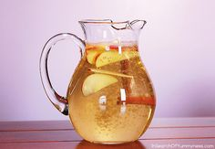 My version of Padma Lakshmi's Fairy Water combines green tea, fresh apple slices and cinnamon | InSearchOfYummyness.com