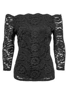 e78c1c1642dfa Kaleidoscope - Lace Black Bardot Top top Uk 16 Brand New
